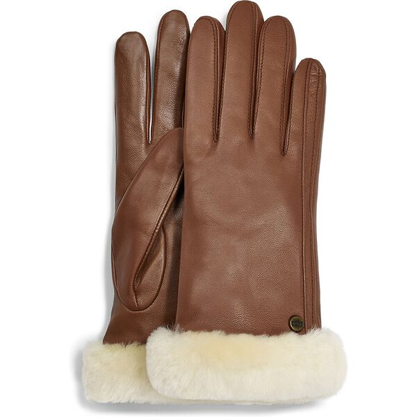 Classic leather shorty tech glove, CHESTNUT, hi-res