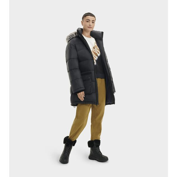 Womens Ozzy Mid-Length Puffer Jacket, BLACK, hi-res