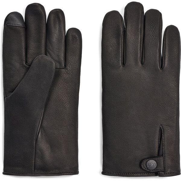 Mens Tabbed Splice Leather Glove, BLACK, hi-res
