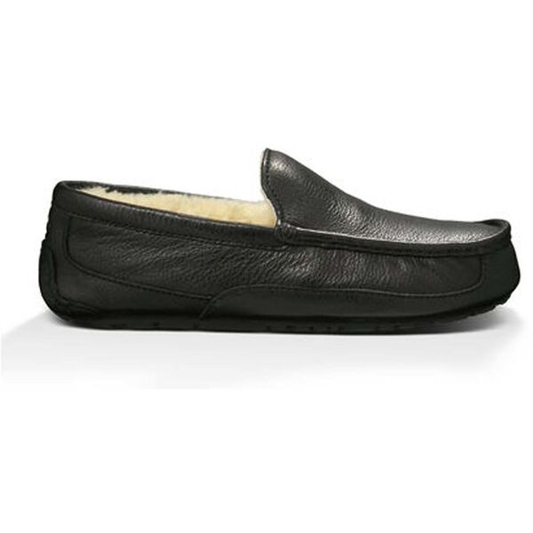 Ascot Leather Slipper, BLACK, hi-res