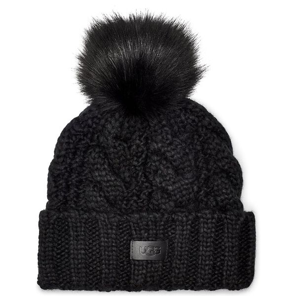 Knit Cable Hat With Fur Pom, BLACK, hi-res