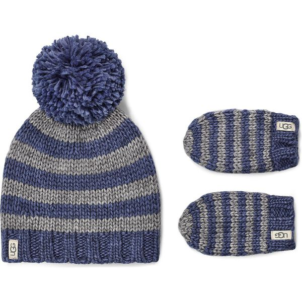 CHUNKY STRIPE KNIT HAT AND MITTEN, ENSIGN BLUE, hi-res