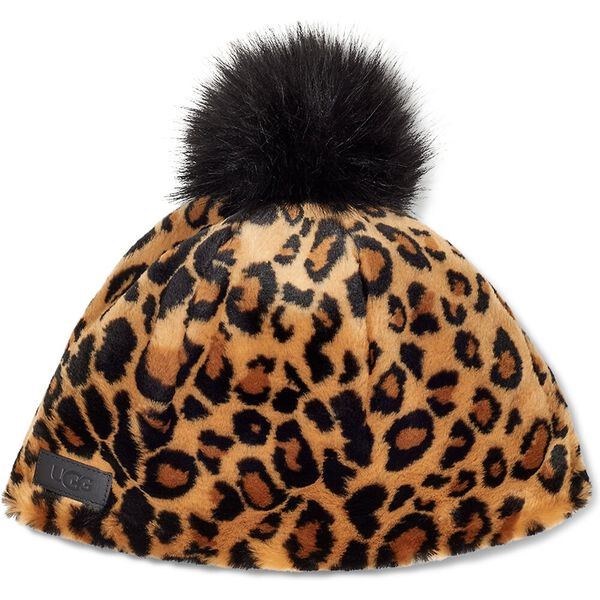Womens Faux Fur Beanie with Pom, BUTTERSCOTCH PANTHER, hi-res