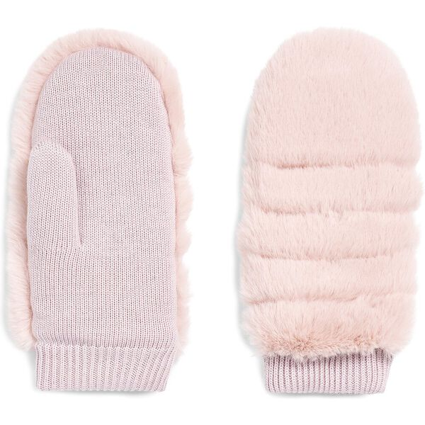 ALL OVER FAUX FUR MITTEN, PINK CRYSTAL, hi-res