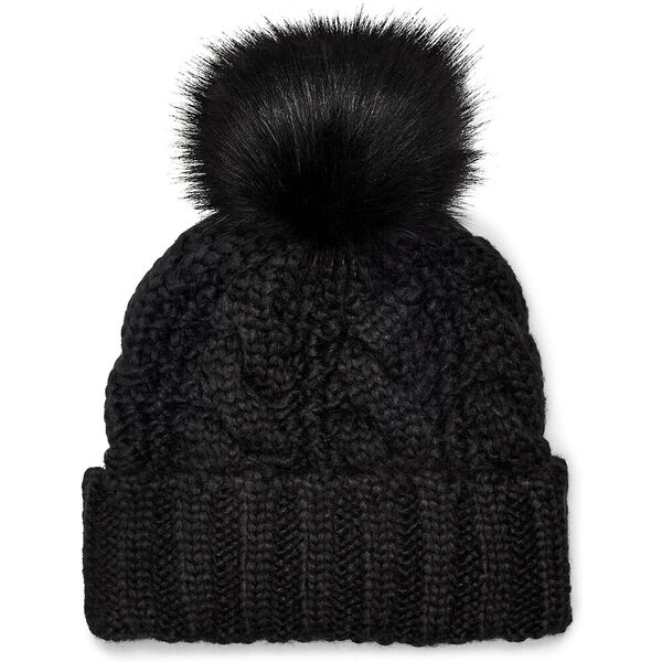 Knit Cable Hat With Fur Pom