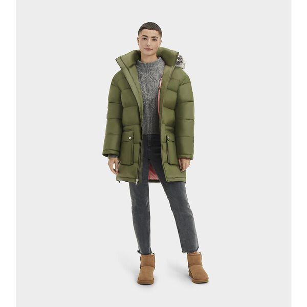 Womens Ozzy Mid-Length Puffer Jacket, SEAWEED, hi-res