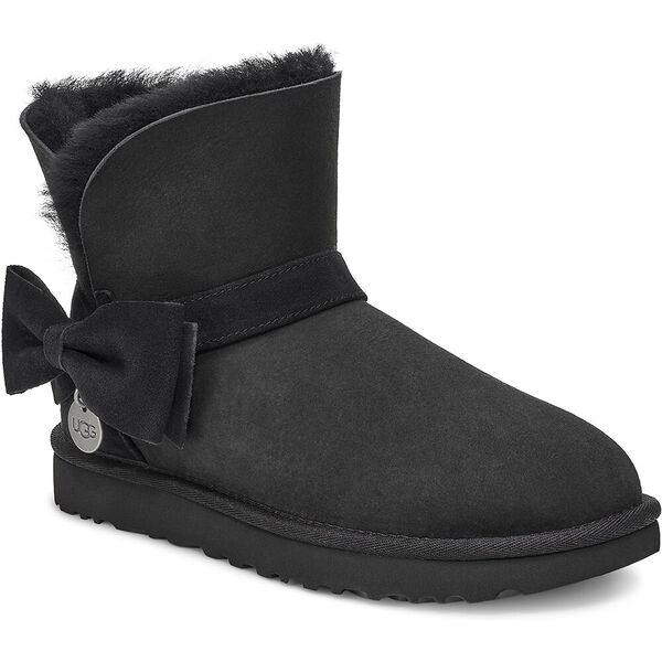 Suede Mini Bow Boot, BLACK, hi-res