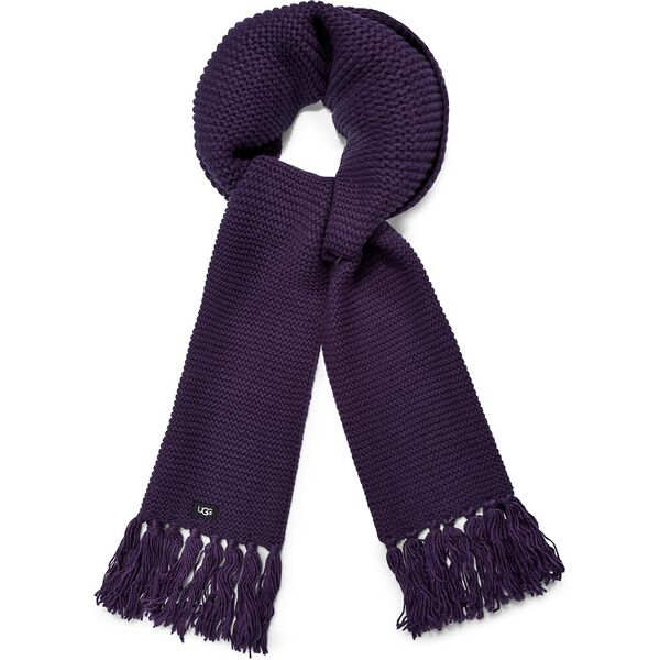 Chunky knit scarf with fringe, NIGHT SHADOW, hi-res