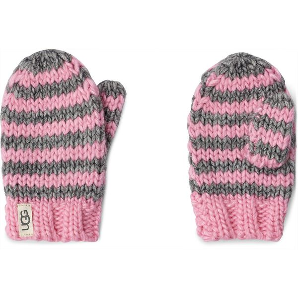 CHUNKY STRIPE KNIT HAT AND MITTEN, SEASHELL PINK, hi-res
