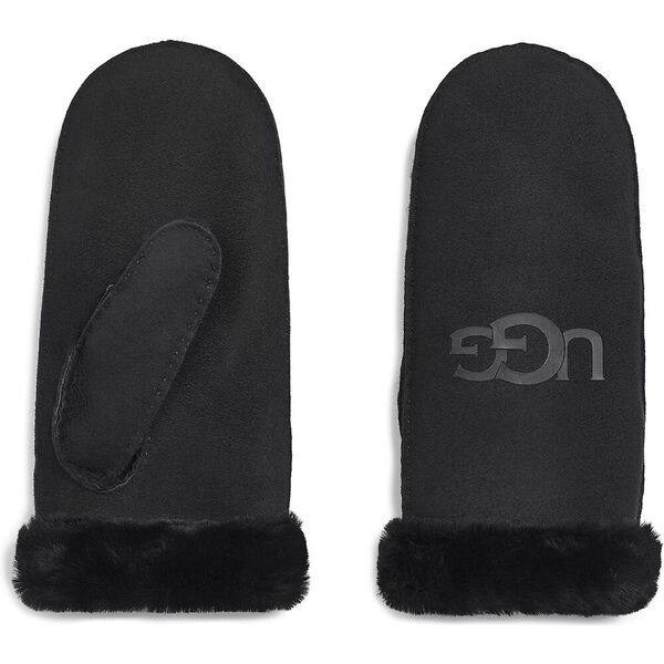 SHEEPSKIN LOGO MITTEN, BLACK, hi-res