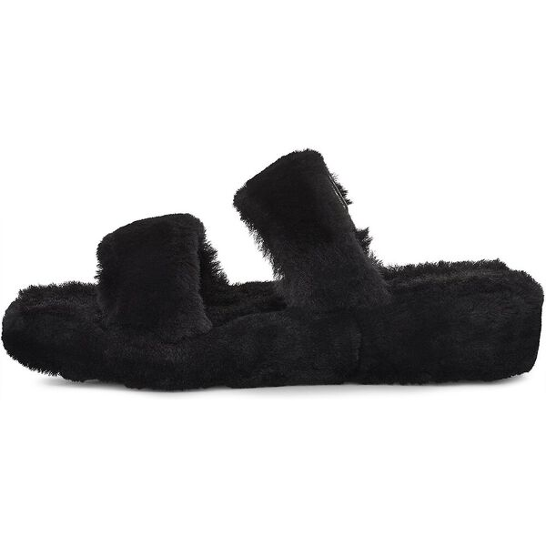 Womens Fuzz Yeah Slide, BLACK, hi-res