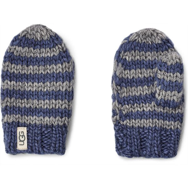 Chunky Stripe Knit Hat and Mitten, ENIGMA BLUE, hi-res