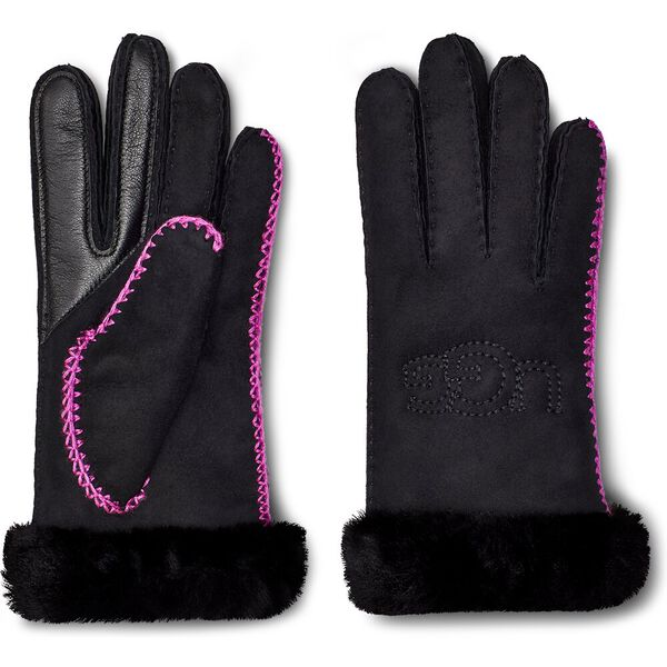Womens Shearling Embroidered Glove, BLACK, hi-res