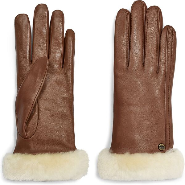 Womens Classic leather shorty tech glove, CHESTNUT, hi-res