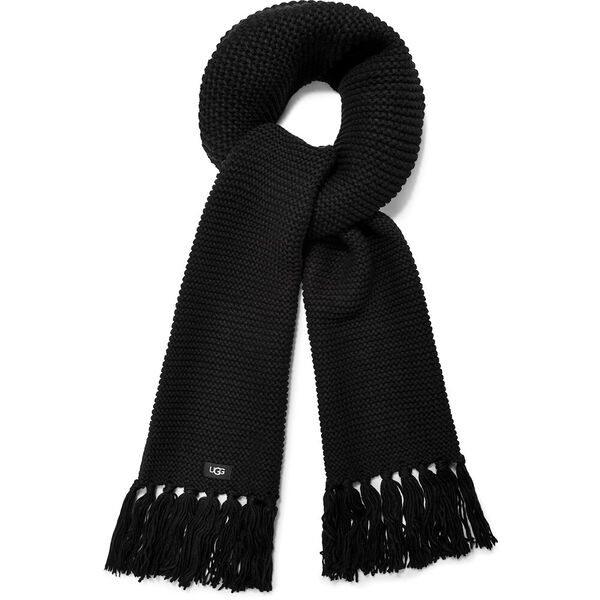 Chunky knit scarf with fringe, BLACK, hi-res