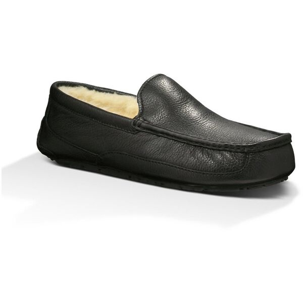 Mens Ascot Leather Slipper, BLACK, hi-res