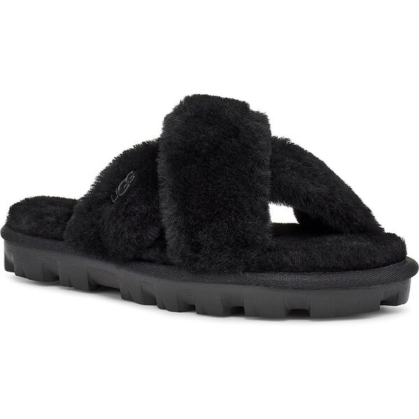 Womens Fuzzette Slide, BLACK, hi-res