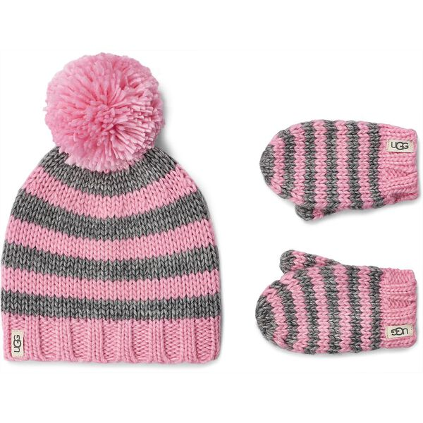 CHUNKY STRIPE KNIT HAT AND MITTEN
