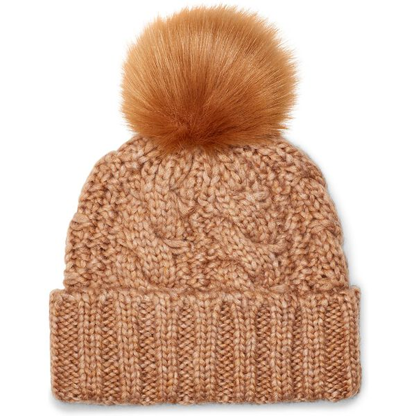 Womens Knit Cable Hat With Fur Pom, CAMEL, hi-res
